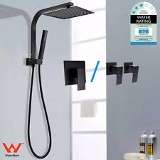"WELS Black 8/10/12"" Square Thin Rain Shower Head Handheld Wall Arm Set Mixer Tap"