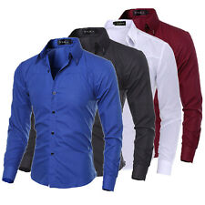 Fashion Men Slim Fit Button Down Shirt Long Sleeve Dress Shirts Casual Shirts