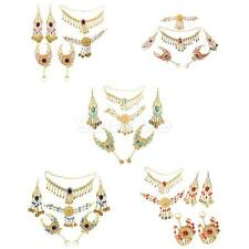 Bollywood Belly Dance Wedding Bridal Necklace Earring Headpiece Hand Jewelry Set