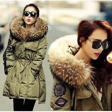 Women's Raccoon  Hooded Elastic Waist Winter Feather Down Coat/Jacket Warm Parka