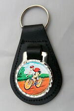 CYCLING Leather Key Fob NEW Keyring CHOICE OF COLOURS Cyclist Bike Bicycle NEW