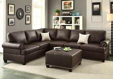 Reversible Loveseat Couch Sectional Sofa Trim Bonded Leather Ottoman Espresso
