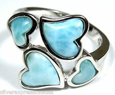 Rare AAA Genuine Larimar Inlay Solid 925 Sterling Silver Heart Ring Size 8 or 9