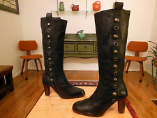 Vtg FRYE Women's Blk. Leather 'Piper Stud' Pull On Fashion Boots 10M ITALY