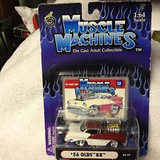 1/64 Muscle Machines 56 Olds 88 with Blower in Burgundy/White from 2001