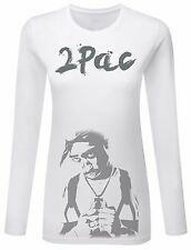 Womens T-Shirt Tops Blouse 2Pac Tupac Shakur Thug Life Party Club Hip Hop Rap