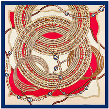 "100% Twill Silk Women Euro Chain Great Circle Printed Square Shawl Scarf 39""*39"""