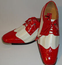 Expressions 6345 Mens Shiny Red White Satin Silvertip Spectator Dress Shoes