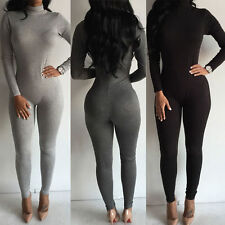 Womens Long Sleeve Bodysuit Bodycon Romper Jumpsuit Club Sexy Casual Long Pants