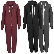 New Womens Hooded Zip Onesie All In One Piece Jumpsuits S-XL