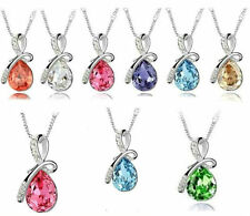 Beautiful! Eternal Love Teardrop  Elements Crystal Pendant Necklace