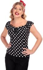 Collectif Dolores 50s Vintage Style Black and White Polka Dot Gypsy Top