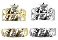His & Her 14k Solid Yellow White Gold CZ Wedding Bridal Ring Band Set Size 5-13