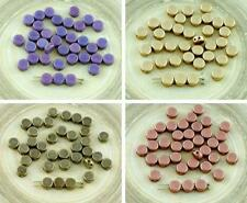 60pcs 2 Two Hole Weaving Czech Glass Round Flat Coin Beads Tablet Shape 6mm