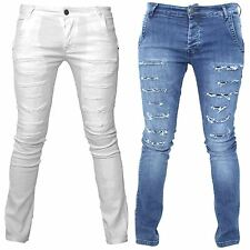 Seven Series Mens Casual Branded Work Skinny Jeans Ripped Faded Biker Pants