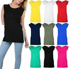 Women Sleeveless High Side Split Slit Tunic Jersey Ladies Long Vest Tee Top