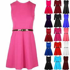 New Kids Girls Flared Party Dresses Belted Swing Franki Sleeveless Skater Dress