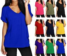 Ladies Women Oversized Batwing Sleeve Baggy Loose Fit Turn Up V Neck T Shirt Top