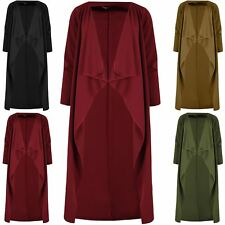 Ladies Plain Fall Away Cape Cardigan Womens Waterfall Crepe Stretch Duster Coat