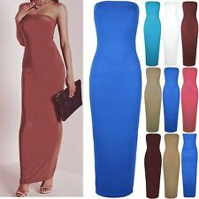Womens Ladies Bandeue Boobtube Backless Strapless Bodycon Maxi Dress Plus Size