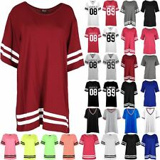 Womens Baggy Mini Dress Tops Ladies Sleeve Stripe Oversized Stretchy T Shirts