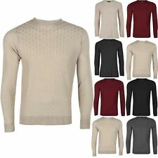 New Mens Crew Neck Full Sleeve Ribbed Knit Cuff Hem Jumper Sweater Pullover Top