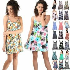 Womens Ladies Strappy Floral Summer Print Flared Vest Swing Dress Top Plus Size