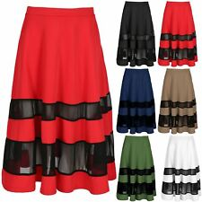Womens Midi Skater Skirt Ladies Contrast Mesh Panel Elastic Stretchy Swing Skirt