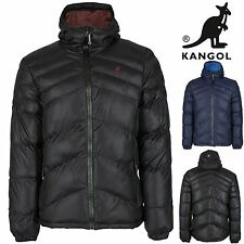 Kangol Mens Long Sleeves Quilted Zip Up Hoodie Warm Coat Padded Hoody Jackets