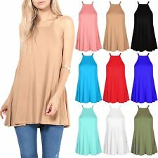 Ladies Plain Cami Strap Swing Top Womens High Neck Flared Jersey Top Plus Size