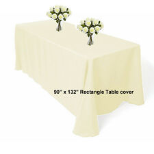 """90"""" x 132"""" polyester Ivory Rectangle Table cloth For Wedding Banquet Table cover"""