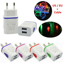 LED Light USB 2 Ports EU / US Plug Travel AC Charger Adapter + Cable For Samsung