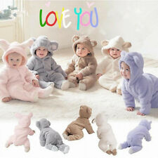 Winter Warm Baby Infant Boy Girl Romper Jumpsuit Bodysuit Hooded Clothes Outfit