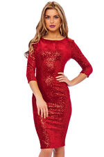 RED VELOUR SEQUIN EMBELLISHED BODYCON PLUS SIZE PARTY MIDI DRESS 8-18(WAS £69)