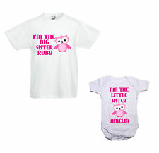 Personalised Child's T shirt/Baby vest bundle Big/Little/Sister/Brother