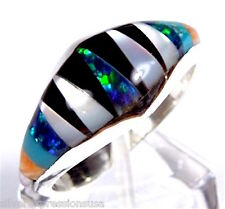 Handcrafted Multicolor, Fire Opal Inlay 925 Sterling Silver Band Ring Size 7