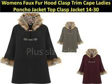 Womens Faux Fur Hood Trim Cape  Poncho Clasp Jacket Plus size 14-30