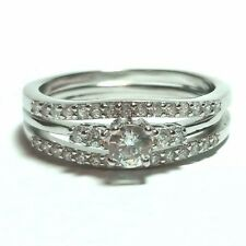 .925 Sterling Silver Wedding Ring Set CZ Round Cut Engagement Size 8.5 New w98