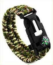 Camp & Hike Paracord Bracelets Compass Fire Starter Whistle Gear 551 Camouflage