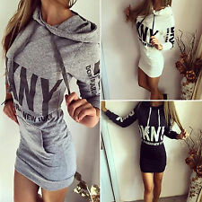 New Womens Letter Print Hooded Pullover Sweatshirt Jumper Dress Bodycon Hoodies