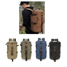 Unisex Vintage Canvas Leather Hiking Travel Military Messenger Tote Bag Backpack