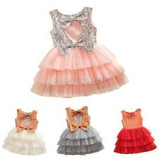 Kids Girls Sweet Sequined Dress Bow Party Pageant Wedding Tulle Tutu Cake Dress