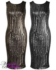Womens Sleeveless Glamorous Trail Sequin Embellished Knee Length Party Dress