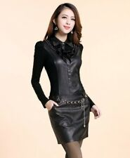 Women Autumn Slim Hip Long-sleeve One-piece Faux Leather Dress