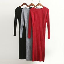 New  Long Sweater Dress Slim Bodycon Dresses Elastic Skinny Split Dress