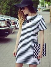 Women Round Neck Black And White Striped Short Sleeve Straight Short Casual Dres