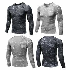 Mens Compression Under Base Layer Top Tight Long Sleeve Fitness Athletic T-Shirt