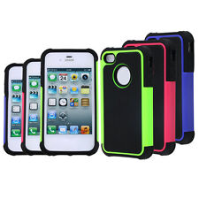 For iPhone 4 / 4S Black Rugged Rubber Matte Hard Case Cover w/ Screen Protect BE
