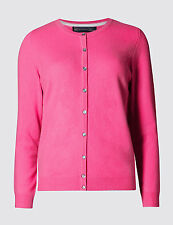 M & S COLLECTION LADIES PURE CASHMERE ROUND NECK BRIGHT PINK CARDIGAN