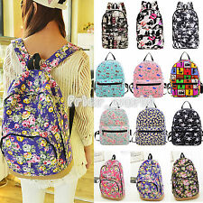 Women's Girls Canvas Backpack Shoulder Bag Bookbag Rucksack Travel School Bags